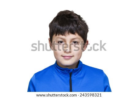Young modern boy in blue jacket on white background - stock photo