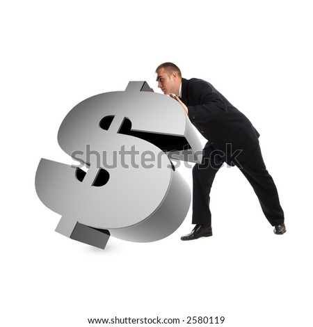 Young Modern Businessman portrait shot in studio over white background - pushing 3d dollar sign