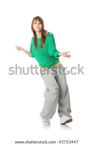 Young modern dancer, isolated on white background - stock photo