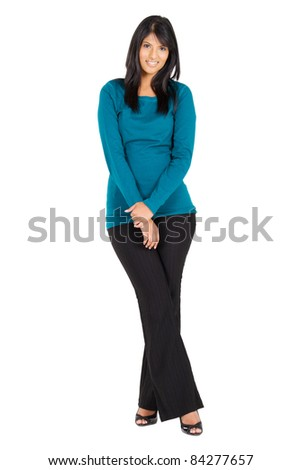 young modern indian woman full length portrait - stock photo