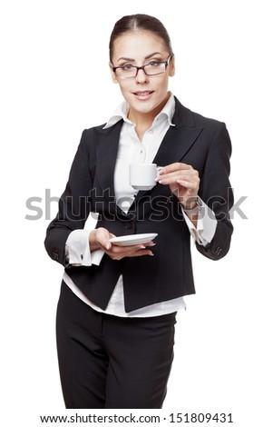 young modern professional businesswoman taking coffee break - stock photo