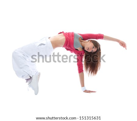 Young modern slim dancer girl exercise hip-hop style pose on the floor isolated on  white background - stock photo