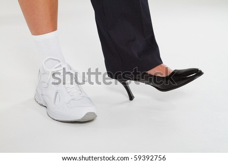 young modern woman between work and exercise - stock photo