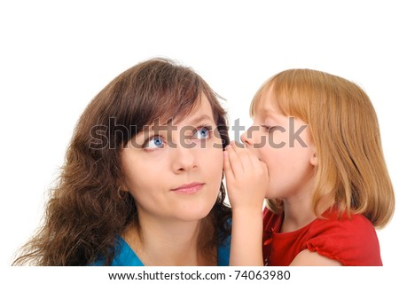 Young mom is listening daughter's secret - stock photo