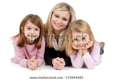 young mom with daughters - stock photo