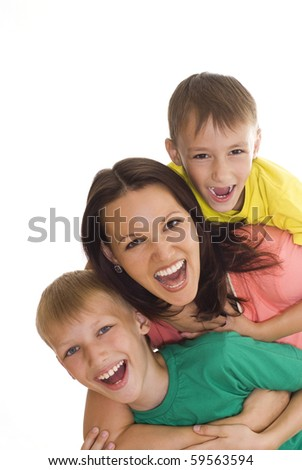 young mom with her two children