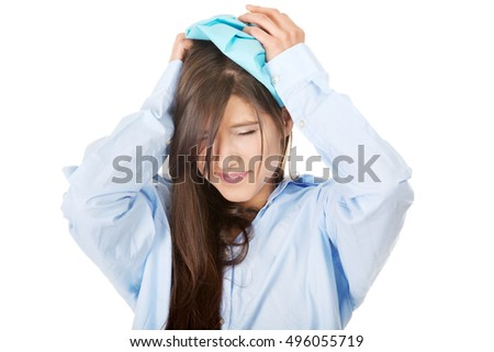 Young morning woman with headache.