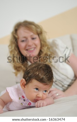 young mother and baby relaxing