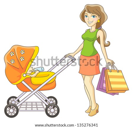 Young mother and baby stroller. Happy mother and her child went shopping. Raster version, vector file also included in the portfolio.