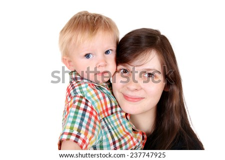 Young Mother and Child Portrait Isolated on the White Background - stock photo