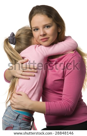 young mother and daughter in pink clothes, isolated on white