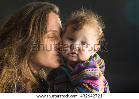 Young Mother and daughter on black background