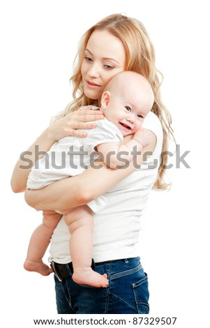 young mother and happy baby in her hands