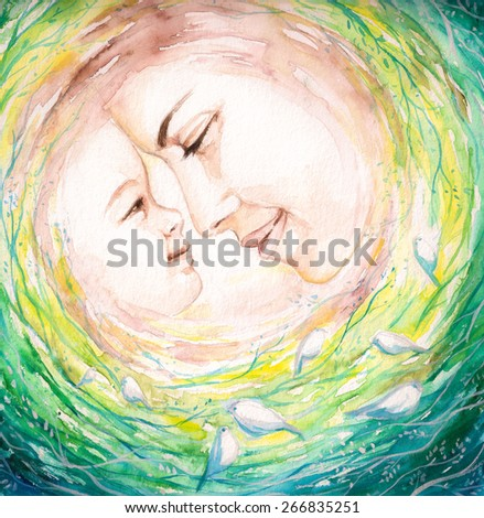 Young mother and her child.Picture I have created with watercolors from imagination. - stock photo