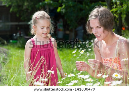 Young mother and her cute little daughter picking flowers on a lush summer meadow full with ox eye daisies