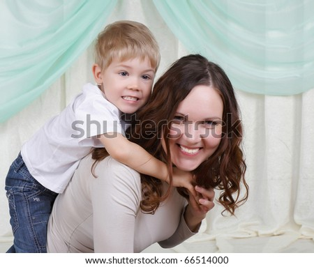 Young mother and her son spend time together.