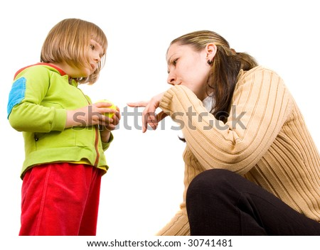 young mother and little daughter on a white background - stock photo