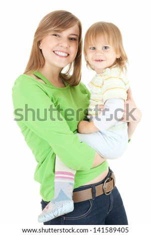 young mother cuddling baby son, white background