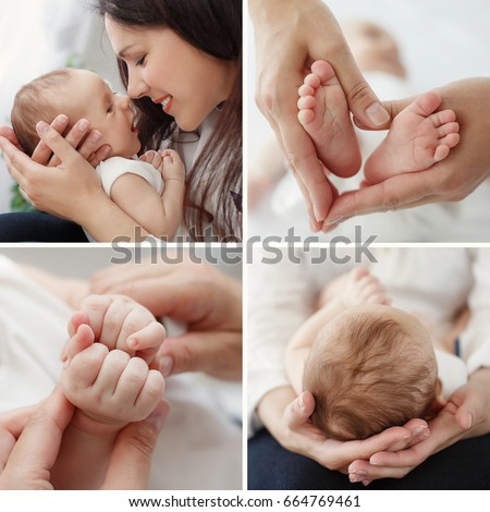 Young mother holding her newborn child mom nursing baby woman and new born boy