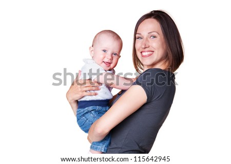 young mother holding in her arms smiley son. isolated on white background - stock photo