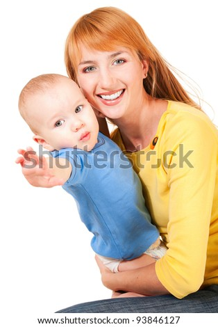 Young mother holding son reaching out isolated on white - stock photo