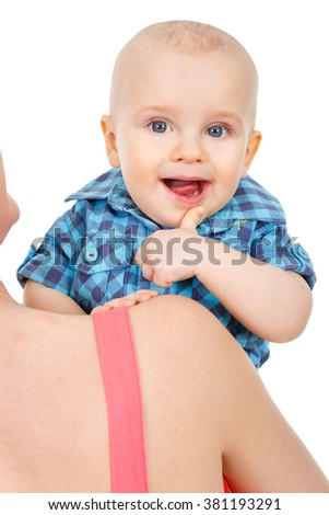 Young mother hugging baby boy, isolated on white background - stock photo