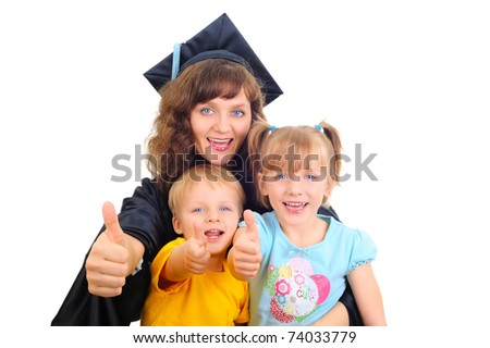 Young mother is graduating with children - stock photo