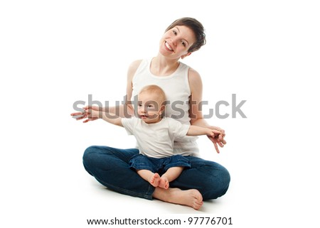 Young mother sitting with her child