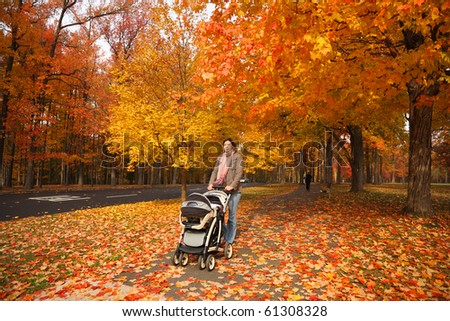 Young mother walking with baby in stroller in beautiful autumn park covered with red and yellow leaves. - stock photo