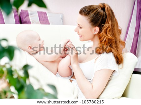 young mother with a charming baby