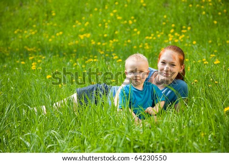 young mother with adorable baby boy son - stock photo