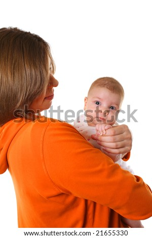 Young mother with baby isolated over white