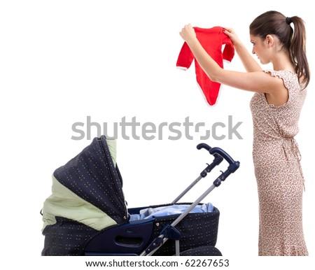 young mother with baby pram (stroller) on the white background