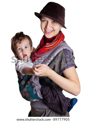 young mother with child isolated on white