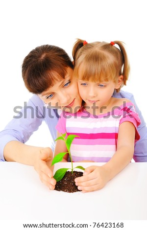 Young mother with daughter - stock photo