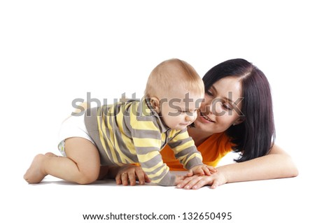 Young mother with her baby studio shot