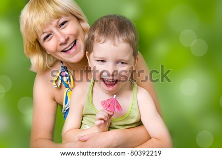 Young mother with her son, portrait - stock photo