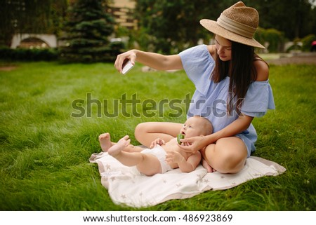 Young mother with newborn baby