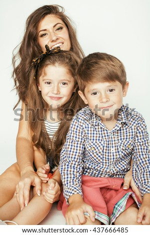 young mother with two children on white, happy smiling family inside isolated - stock photo