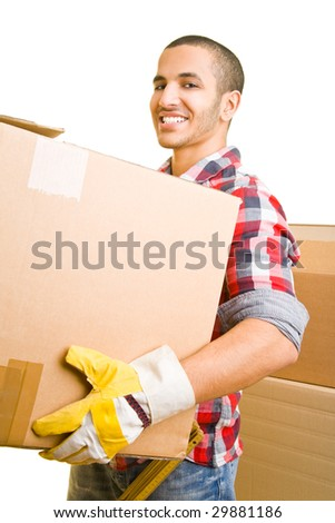 Young mover carrying packing cases - stock photo