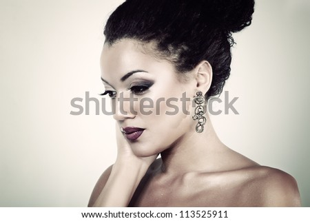 young mulatto fresh fashion woman with beautiful makeup, beauty portrait  isolated - stock photo