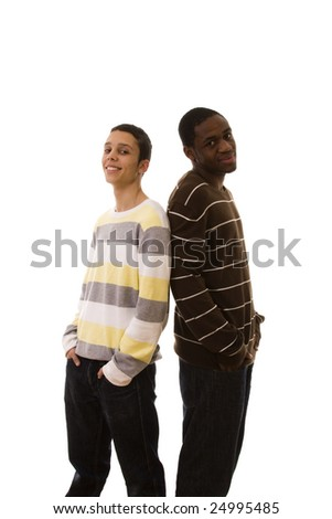 young multiracial friends standing (isolated on white) - stock photo
