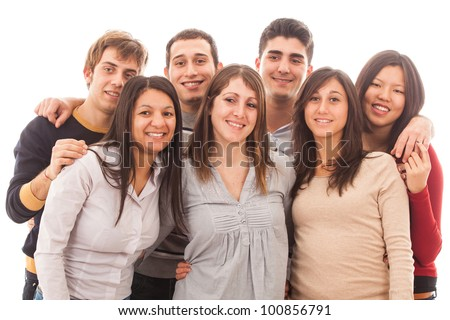 Young Multiracial Group on White Background - stock photo