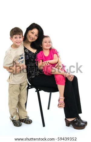 Young mum with the daughter and the son - stock photo