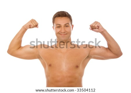 young muscle man portrait in white backgroud