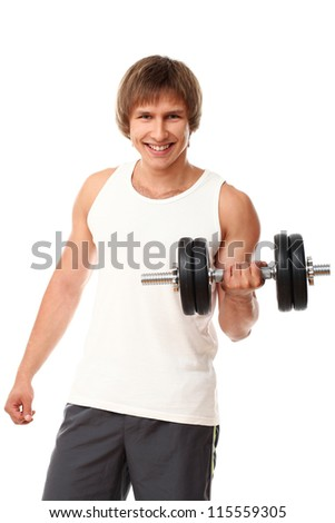Young muscular guy doing exercises with dumbbell over white background
