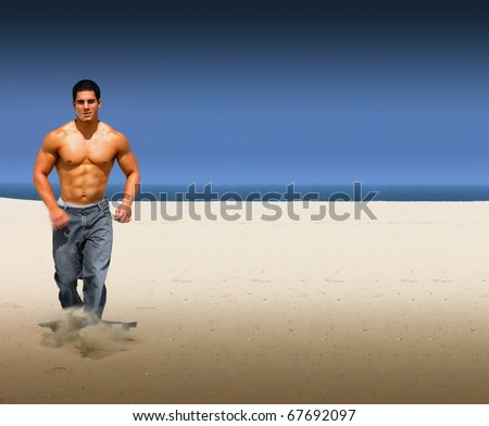 Young muscular male running on an isolated on a beach with lots of copy space - stock photo