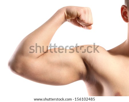 Young muscular man hand with biceps, isolated on white