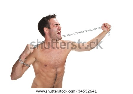 Young muscular man with a chain isolated on white - stock photo