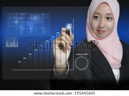 Young Muslim Business Women pointing digital graph on interface in front of her - stock photo